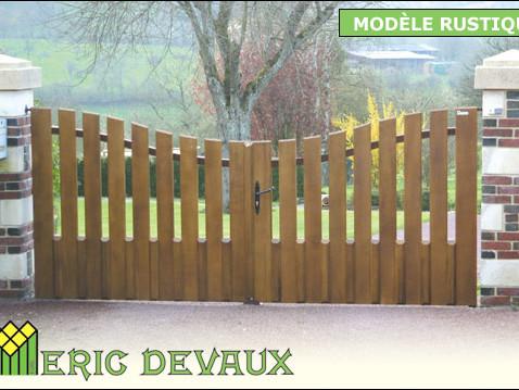 portail fer et bois style rustique