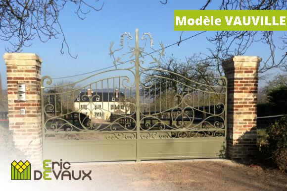 fabrication portail acier piliers motorisation vauville
